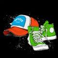 Hand drawn baseball cap and sneakers. Vector illustration