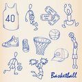 Hand Drawn Basketball Icon Set Stock Images