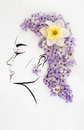 Hand drawn beautiful female profile with natural narcissus flower hairstyle Royalty Free Stock Photo