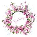Hand drawn beautiful flower wreath. Cute spring cherry blossoms. Stylish sakura wreath. Sketch.