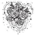 Hand-drawn beautiful roses in linear style with sacred geometry and stars. Tattoo art. Graphic vintage composition. Vector art.