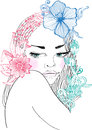 Hand Drawn Beautiful woman with flowers in hair Stock Photos