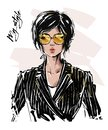 Hand drawn beautiful young woman with short haircut. Stylish girl in striped blazer. Fashion woman look. Sketch.
