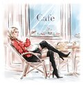 Hand drawn beautiful young woman sitting in Paris street cafe. Blonde hair girl in black shoes. Sketch. Royalty Free Stock Photo