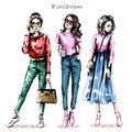 Hand drawn beautiful young women set. Stylish girls. Fashion women looks. Sketch.