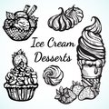 Hand-drawn beautifully Ice Cream desserts collection. Vector graphic icons, vintage food outline elements isolated. Perfect menu t