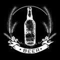 Hand drawn beer bottle label malt and badge with text beer in white color on black background Royalty Free Stock Photos