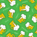 Hand drawn beer patch icon seamless pattern celebration with brewery drink icons on green background eps vector Royalty Free Stock Images