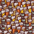 Hand drawn beer seamless background