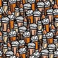 Hand drawn beer seamless pattern