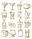 Hand drawn beverages vector icons set on white Stock Images