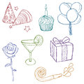 Hand drawn birthday icons Royalty Free Stock Image