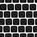Hand drawn black doodle squares with white hearts. Vector seamless pattern. Perfect for Valentines day, backgrounds, fabric, and