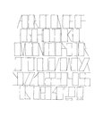 Hand drawn black font, isolated on white background. Vector alphabet, letters sequence from A to Z and numbers. Abc sequence, good Royalty Free Stock Photo