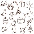 Hand drawn black and white Christmas icons.