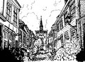Hand drawn black and white illustration of a city