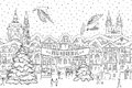 Hand drawn black and white illustration of a city in winter at Christmas time Royalty Free Stock Photo