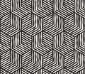 Hand drawn black and white ink striped seamless pattern. Vector grunge lattice texture. Monochrome brush strokes line