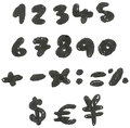 Hand drawn blackened numbers vector and math signs Stock Photos