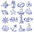Hand drawn boat and ship vector icons set on white Stock Images