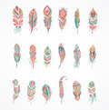 Hand drawn bohemian, tribal, ethnic feathers. Colorful set Royalty Free Stock Photo