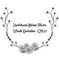 Hand drawn botanic wreath. Floral black and white wreath decoration.