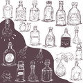 Hand drawn bottles vector illustration of different Stock Image