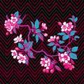 Hand drawn branch flower roses sakura vintage print on stripes w