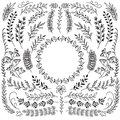 Hand drawn branches with leaves. Decorative floral wreath border frames. Rustic doodle vector set
