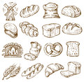 Hand drawn bread vector icons set on white Stock Photos