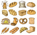 Hand drawn bread vector icons set on white Royalty Free Stock Photos