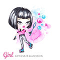 Hand drawn bright illustration. Watercolor card roller girl with bubbles. Teenagers. Have fun.