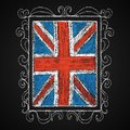 Hand drawn british flag chalk on board in frame vector illustration Stock Photography