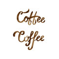 Hand drawn brown coffee lettering logo on white background.