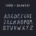 Hand drawn brush ink vector ABC upper and lower case letters set. Royalty Free Stock Photo
