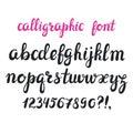Hand drawn brush pen calligraphy cursive font. Royalty Free Stock Photo
