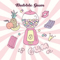 Hand drawn bubble gum machine with gumballs, bubblegum and handwritten sign. Candy color background