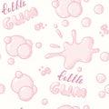 Hand drawn bubblegum seamless pattern. Bubble gum handwritten sign. Pink background