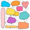 Hand Drawn Bubbles Set. Doodle Style Comic Balloon, Cloud Shaped Design Elements.