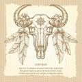Hand drawn buffalo skull vintage poster Royalty Free Stock Photo