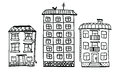 Hand drawn building. Sketch houses of black contour isolated on white background.
