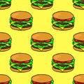 Hand drawn burger. Seamless pattern with doodle burger on yellow background.