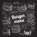 Hand Drawn Burgers on Blackboard. Fast Food Menu with Cheeseburger, Sandwich and Hamburger Royalty Free Stock Photo