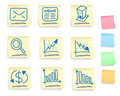 Hand drawn business icon set on post it notes five colorful version Stock Images