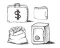 Hand drawn business icons this is file of eps format Royalty Free Stock Photo