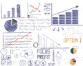 Hand drawn businesses analytic elements set of Royalty Free Stock Image