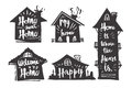 Hand drawn Caligraphy in silhouette house, Home sweet home, My h