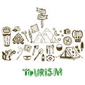 Hand drawn camping holiday icon collection. Summer vacation background. Tourism set