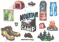 Hand drawn camping set with watercolor elements. Camp bonfire, vintage lantern, roasted marshmallow, camper knife Royalty Free Stock Photo