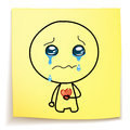 Hand drawn cartoon crying with a broken heart on sticky notes Royalty Free Stock Image
